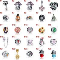 European Silver Charms Flowers Beads CZ Xmas Pendant Fit 925 Sterling Bracelets