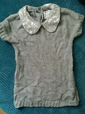 grey silver winter knitted mini dress /jumper with sequins 3-4 years
