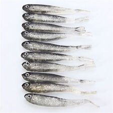 10x 75mm Soft Silicone Tiddler Bait Fluke Fish Fishing Lure Saltwater Lures Hook