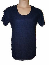 NUOVO Con Etichetta Taglia Large KIM & Co otturatore Pleat Donna Tunica Top in Navy W maniche corte