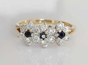 Vintage 1987 9ct Gold Sapphire & Simulated Diamond Cluster Engagement Ring UK Q