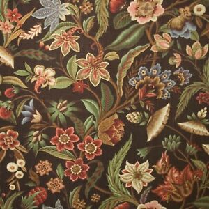Richloom MACAW Botanical Floral CHOCOLATE Drapery Upholstery Sewing Fabric BTY