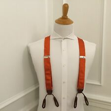 Polo Ralph Lauren Suspenders Orange 100% Silk w/ Leather Trim