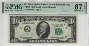 1969 $10 FEDERAL RESERVE NOTE KANSAS CITY FR.2018-J PMG SUPERB GEM UNC 67 EPQ