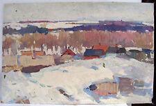 Original Ukrainian Social Realism Impressionism Oil Painting Genre 1969 2-sides