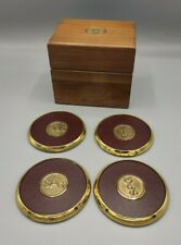 "Vintage Brass & Leather Drink Coasters Set of 4 W/Wooden Box ""SPG"""