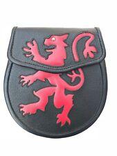 Scottish Leather Rampant Lion Kilt Sporran + belt Set
