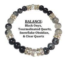 Balance: Onyx, Snowflake Obsidian, & Tourmalinated Qtz Stretch Bracelet Free SH
