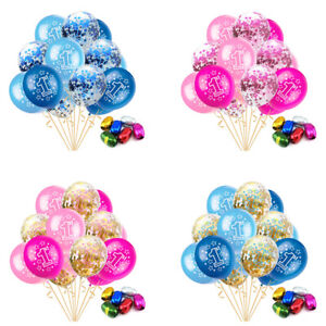 "12"" 15PCS Confetti Latex Balloon Sequined Baby Shower 1st Birthday Party Decor E"
