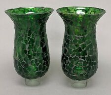 "Glass hurricane Shades Green Mosaic for Candle Holders 4.5""Dia x 8""Tall Pair"