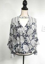 Jodifl Women's Blue white Striped floral  Peasant Tunic wrap top Small
