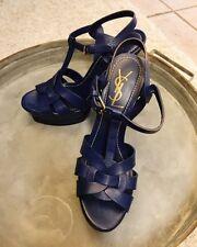 YSL YVES ST LAURENT Blue Tribute Patent Leather T Strap Platform Heels Size 38