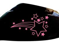 Shooting Stars Car Sticker Wing Mirror Styling Decals (Set of 2), Pink