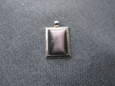 Vintage moonglow purple lucite silver plated pendant