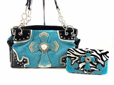 ZEBRA PRINT BLUE BLING RHINESTONE CROSS PURSE HANDBAG FLAT WALLET SET