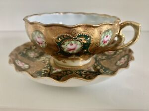 Exceptionally Rare Antique Cup And Saucer, Limoges? Dresden? Handpainted Gold