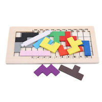 Children Wood Puzzle Tangram Brain Teaser Tetris Game Educational Toy ONE