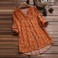 Womens Cat Print 3/4 Sleeve T Shirts Blouse Ladies Tunic Loose Tops Plus Size LM