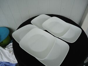 6 corelle  large winter frost white square dinner plates