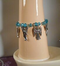 7 Archangels Bracelet with Rondell Blue Glass Beads