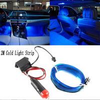2M Car Blue LED EL-Wire Cold light lamp Neon Lamp Interior Atmosphere Light 12V