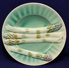 French Majolica Asparagus Plate Luneville Depose K&G 19TH C. DIA 8 1/2""