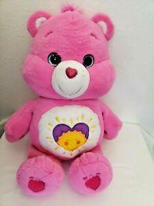 "2017 Care Bears Shine Bright Pink 20"" Plush Stuffed Animal Heart Sun Large"