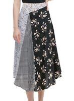 Calvin Klein Women Midi Skirt Black 4 Floral Houndstooth Asymmetric $89- 245