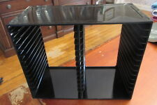 Vintage 1993 U.S. Acrylic Inc. Black CD Holder Rack 30 Disc Made in USA