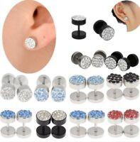 Men's Unisex Barbell Punk Stainless Steel Crystal Punk Ear Studs Earrings 1 pair