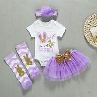Newborn Infant Baby Girls Easter Rabbit Bunny Romper Bodysuit Tutu Skit Outfits
