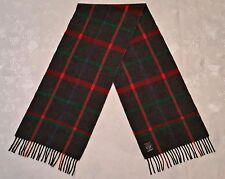SCOTLAND-VINTAGE HIGHLAND CROWN RLAID GRAY RED LAMBSWOOL LONG MEN'S FRINGE SCARF
