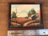 "Vtg Oil On Board Original Framed Plein Air Landscape Painting 7"" X 9"""