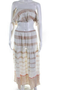 PilyQ  Womens Cropped Top Cotton Skirt Set Cream Tan Size Extra Small