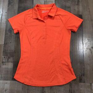 Nike Golf Womens Size Medium Dri-Fit Polo Rugby Orange Short Sleeve Shirt