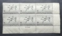 WTDstamps - #RW12 1945 Plate# Block - US Federal Duck Stamp - Mint H