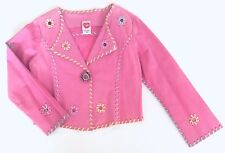 Lipstik Girls Faux Suede Decorated Jacket Floral Embroidered Pink Size 6X