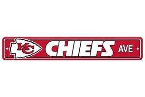 "Kansas City Chiefs 4""x24"" Plastic Street Sign [NEW] NFL Wall Banner Avenue"