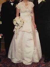 """Custom made 2-piece wedding dress, off white, 26"""" waist, skirt, top and veil"""