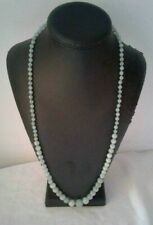 NECKLACE Green JADE Graduated Bead Long Strand Over the Head Necklace