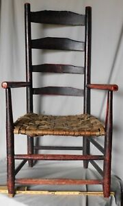 Antique Queen Anne ladder back arm chair American country 1750 paint ash splint