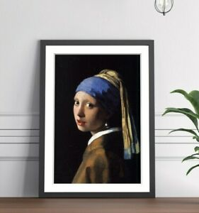 Vermeer The Girl With The Pearl Earings FRAMED WALL ART POSTER PRINT 4 SIZES