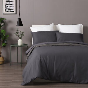 Dreamaker Cotton Waffle Pillowcase Duvet Doona Quilt Cover Set King Bed Grey