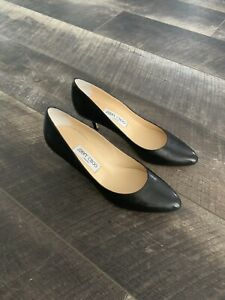 Jimmy Choo IRENA Black Leather Round Toe Pump Heel EU 40. New