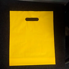 """100 x Yellow plain strong plastic carrier party shopping bags -10x12x3"""" (Small)"""