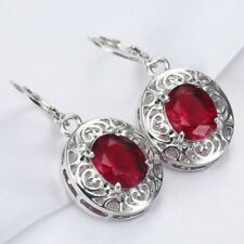 Women's 925 Sterling Silver Ruby Hollow Heart Dangle Ear Studs Eardrop Earrings