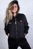 Ellesse Women's Track Top Jacket Suede Look Bomber Style Black Sz 6uk