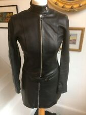 VINTAGE KATHARINE HAMNETT BLACK LEATHER JACKET AND SKIRT SUIT. FULLY LINED EXCEL