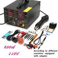 220V 800W 909D+ 4 In1 Rework Soldering Station Hot Heat Air Gun USB Power Supply