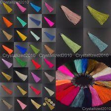 Czech Crystal Colorful Cotton Silky Silk Tassel Trim Jewelry Making Pendant 95mm